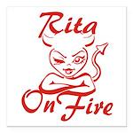 Rita On Fire Square Car Magnet 3
