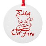 Rita On Fire Round Ornament