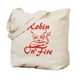Robin On Fire Tote Bag