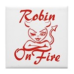 Robin On Fire Tile Coaster