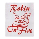 Robin On Fire Throw Blanket