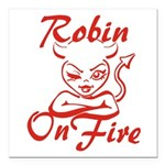 Robin On Fire Square Car Magnet 3