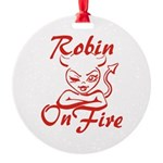 Robin On Fire Round Ornament