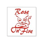 Rose On Fire Square Sticker 3