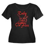 Ruby On Fire Women's Plus Size Scoop Neck Dark T-S