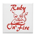 Ruby On Fire Tile Coaster