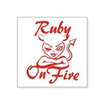Ruby On Fire Square Sticker 3