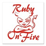 Ruby On Fire Square Car Magnet 3