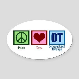 Peace Love OT Oval Car Magnet