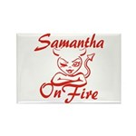 Samantha On Fire Rectangle Magnet