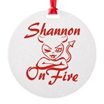 Shannon On Fire Round Ornament