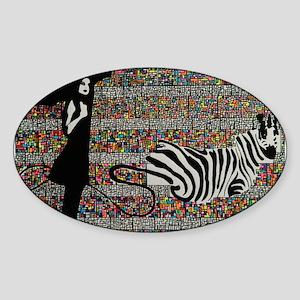 walking the zebra Sticker (Oval)