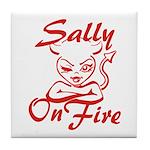 Sally On Fire Tile Coaster