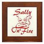 Sally On Fire Framed Tile