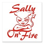 Sally On Fire Square Car Magnet 3