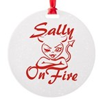 Sally On Fire Round Ornament