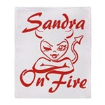 Sandra On Fire Throw Blanket