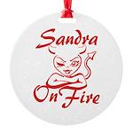 Sandra On Fire Round Ornament