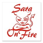 Sara On Fire Square Car Magnet 3