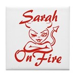 Sarah On Fire Tile Coaster
