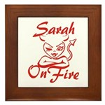 Sarah On Fire Framed Tile