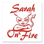 Sarah On Fire Square Car Magnet 3