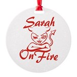 Sarah On Fire Round Ornament