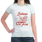 Selena On Fire Jr. Ringer T-Shirt