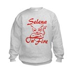 Selena On Fire Kids Sweatshirt