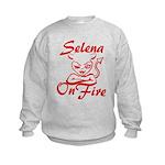 Selena On Fire Kids Sweatshirt