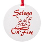 Selena On Fire Round Ornament