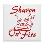 Sharon On Fire Tile Coaster