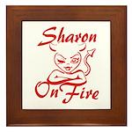 Sharon On Fire Framed Tile