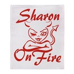 Sharon On Fire Throw Blanket