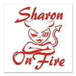 Sharon On Fire Square Car Magnet 3