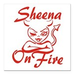 Sheena On Fire Square Car Magnet 3