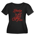 Sheila On Fire Women's Plus Size Scoop Neck Dark T