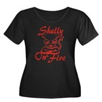 Shelly On Fire Women's Plus Size Scoop Neck Dark T