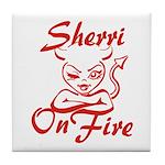 Sherri On Fire Tile Coaster