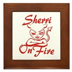 Sherri On Fire Framed Tile