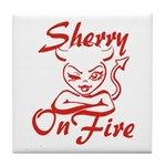 Sherry On Fire Tile Coaster