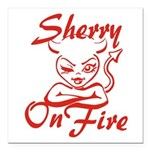 Sherry On Fire Square Car Magnet 3