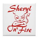 Sheryl On Fire Tile Coaster