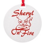 Sheryl On Fire Round Ornament