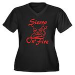 Sierra On Fire Women's Plus Size V-Neck Dark T-Shi