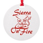 Sierra On Fire Round Ornament