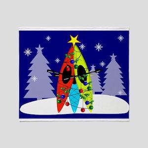 Kayaking Christmas Card Gails Throw Blanket