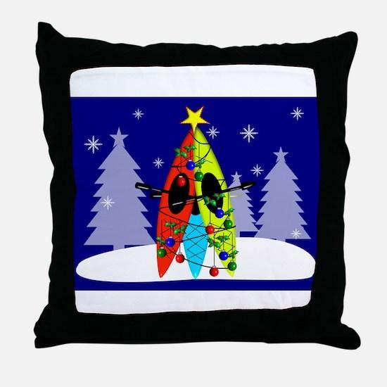 Kayaking Christmas Card Gails.PNG Throw Pillow