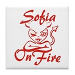 Sofia On Fire Tile Coaster
