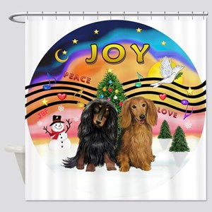 XMusic2-Two Long H. Dachshunds Shower Curtain